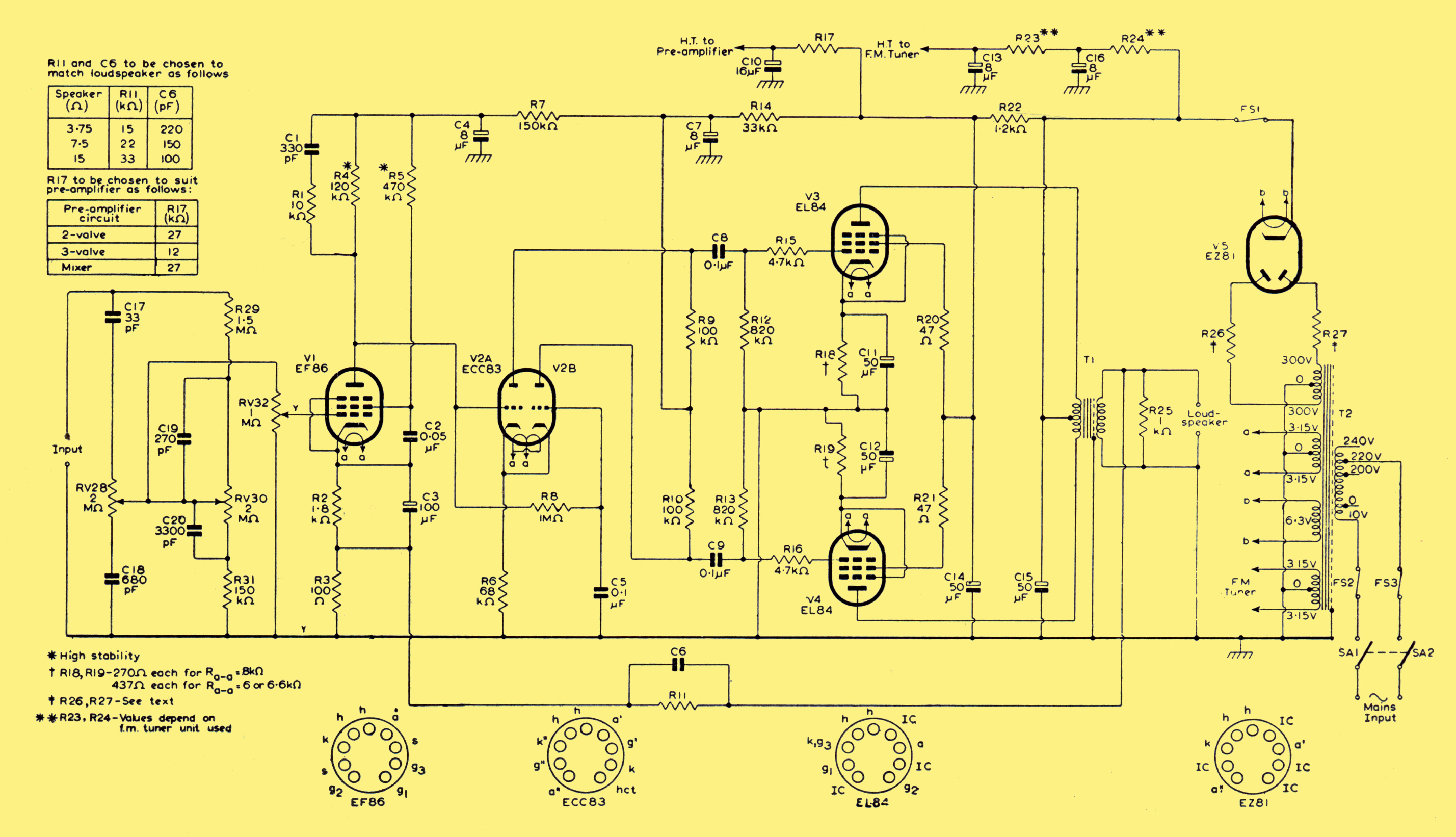 Mullard 5 10 Ten Watt Amplifier 1000 Power Amp Circuit Diagram