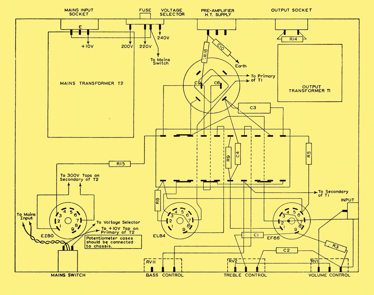 Mullard 3 Three Watt Amplifier Diagram Also Headset Lifier Test Circuit Simplified Schematic The Chassis Can Be Cut From One Piece Of 16 Swg Aluminium Sheet 12 In Long And 10 Wide A Bottom Cover Plate To Is Not Necessary