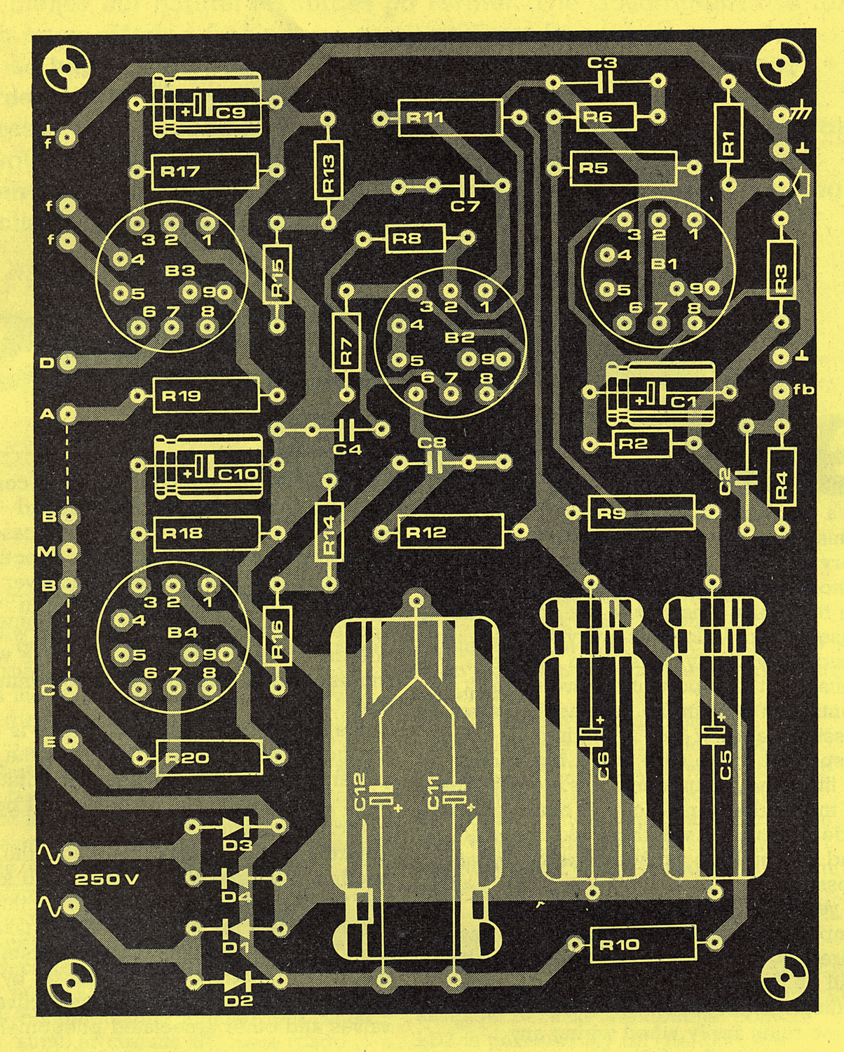 Elektor Ten Watt Valve Amplifier With Just Four Valves Highend Power Circuit Electronic The Printed Board Template Copper Side
